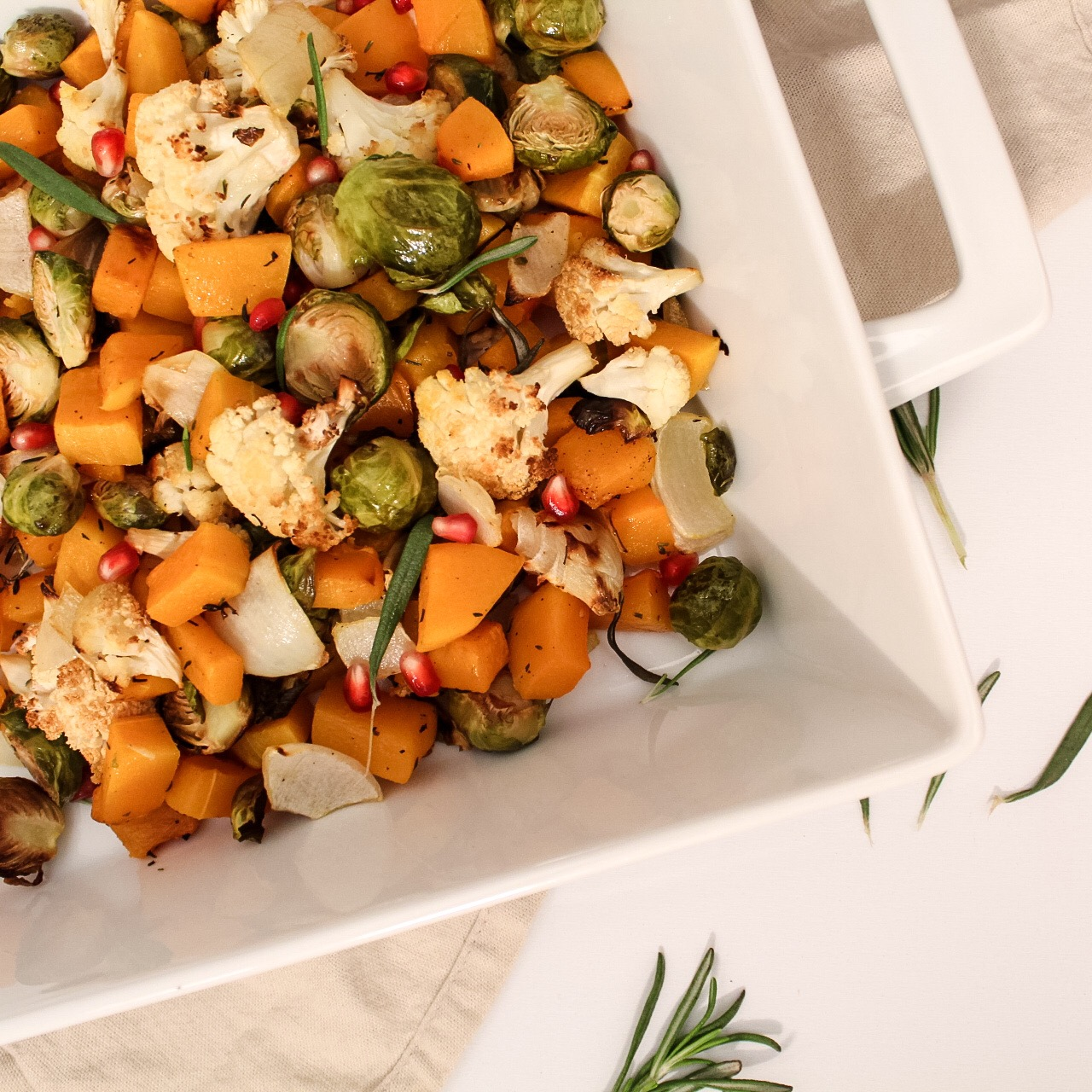 Roasted Fall Veggies with Pomegranate Seeds