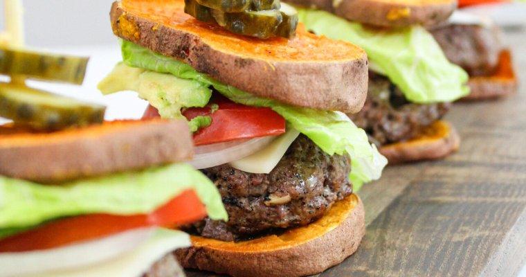 Sweet Potato Bun Grass-Fed Burger Sliders