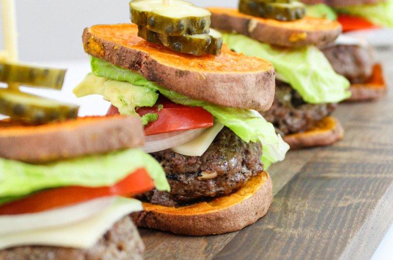 Sweet Potato Bun Grass-Fed Burger Sliders