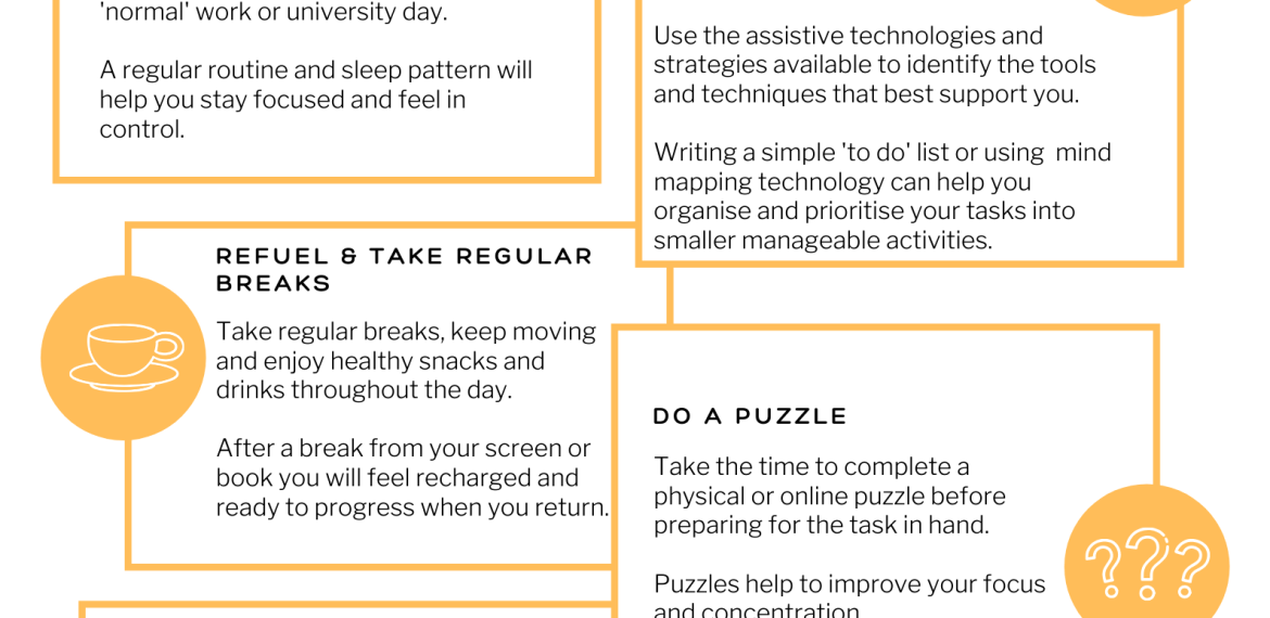 Top Tips for working or studing from home graphic