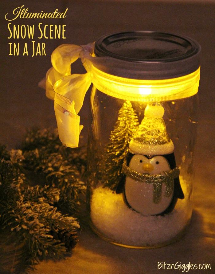 Illuminated Snow Scene in a Jar - An LED tea light illuminates a decorative winter scene inside of a mason jar. Such an easy and beautiful decoration for winter and Christmas!