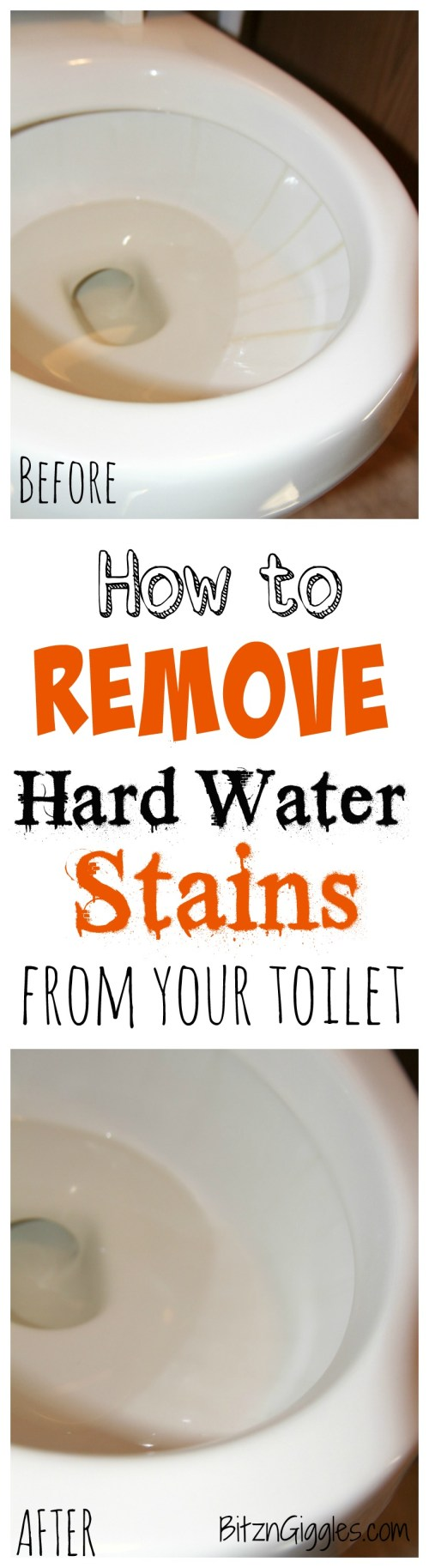 How to Remove Hard Water Stains From Your Toilet -A safe, effective and natural way to remove hard water stains from your toilet without any harsh chemicals. It literally takes minutes and leaves your toilet bowl clean and sparkly like it was when you purchased it!