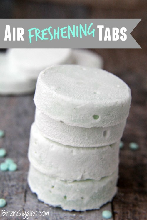 Air Freshening Tabs - Make these tablets with only three ingredients and then place anywhere that needs some freshness like the bottom of garbage pails or in closets. After about a month, crumble them into your laundry for another boost of scent!