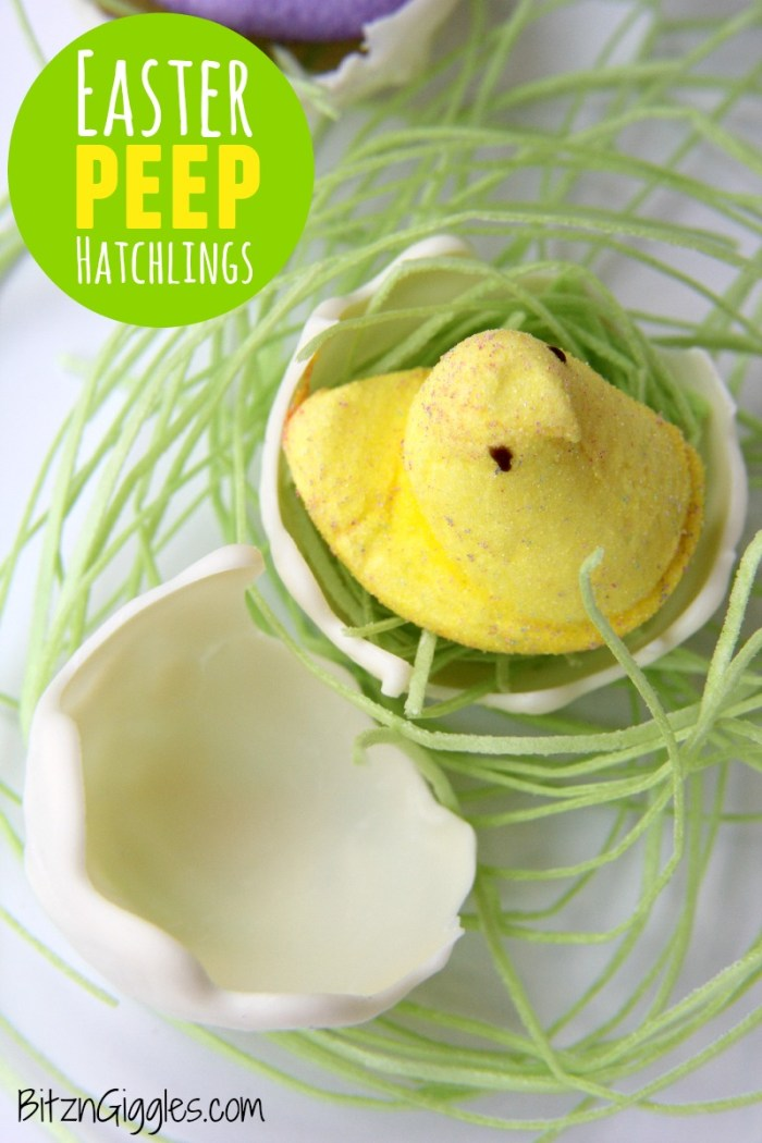 Easter Peep Hatchlings - An awesome tutorial for creating white chocolate egg shells! These would be so cool to incorporate into your Easter place settings!!