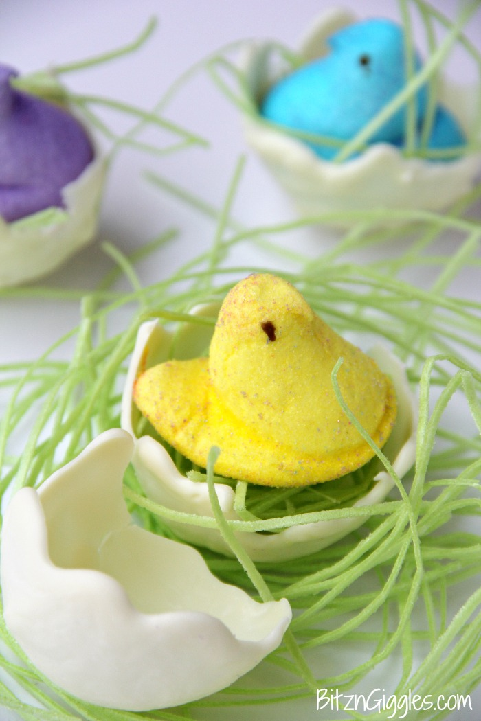 Easter Peep Hatchlings - An awesome tutorial for creating white chocolate egg shells! These would be so cool to incorporate into your Easter place settings!
