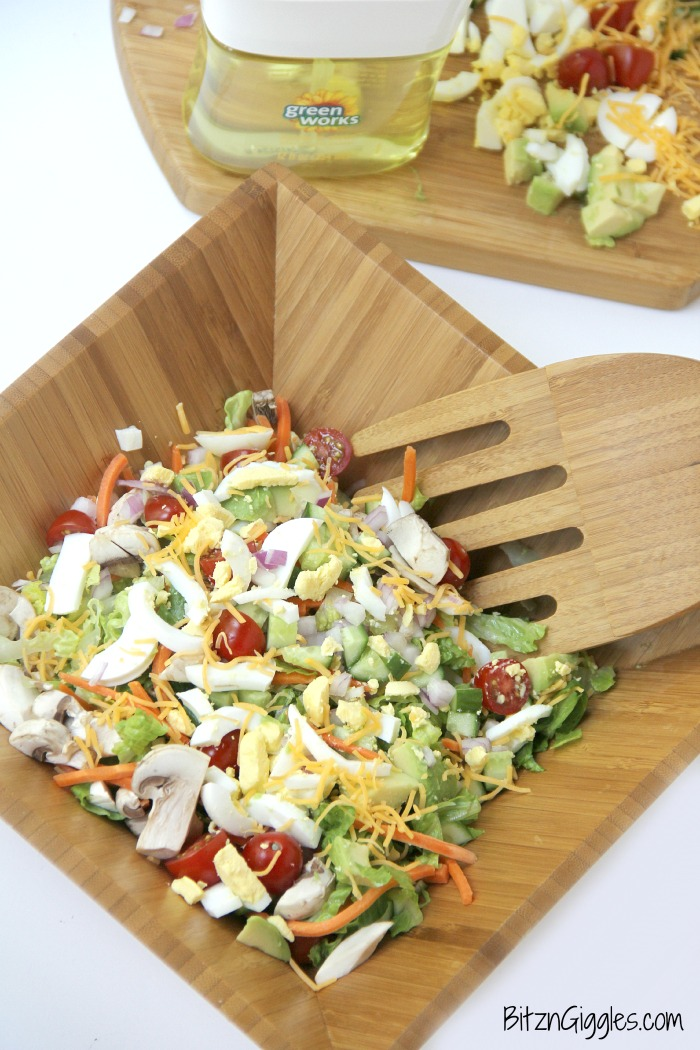 A delicious, crisp chopped salad with loads of fresh veggies, perfect for serving up in the summer after a visit to the farmer's market!