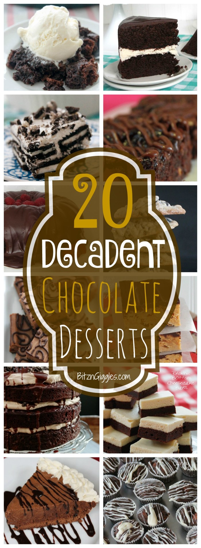20 Decadent Chocolate Desserts - A collection of chocolate cakes, pies, cookies and bars that will make you drool! Which one will you make first?!