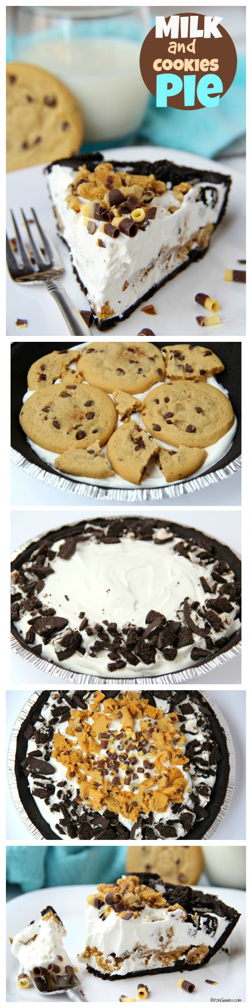 Milk and Cookies Pie - A five-ingredient no-bake pie loaded with chewy chocolate chip cookies, cream and Oreos! Comes together in minutes!