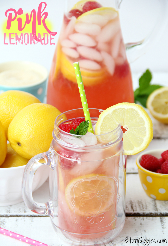 Pink Lemonade - Homemade pink lemonade made with fresh raspberries and lemons! So easy, refreshing and delicious for a baby shower, summer party or picnic!