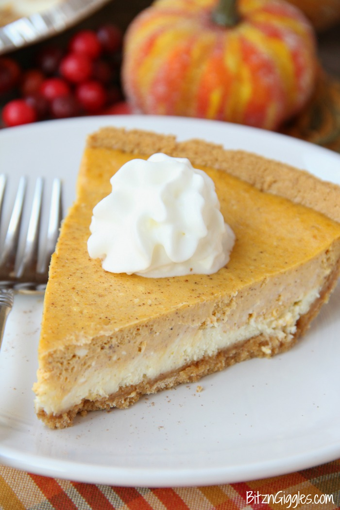 Cheesecake Pumpkin Pie - Quick and easy pumpkin pie with a creamy and delicious cheesecake layer!