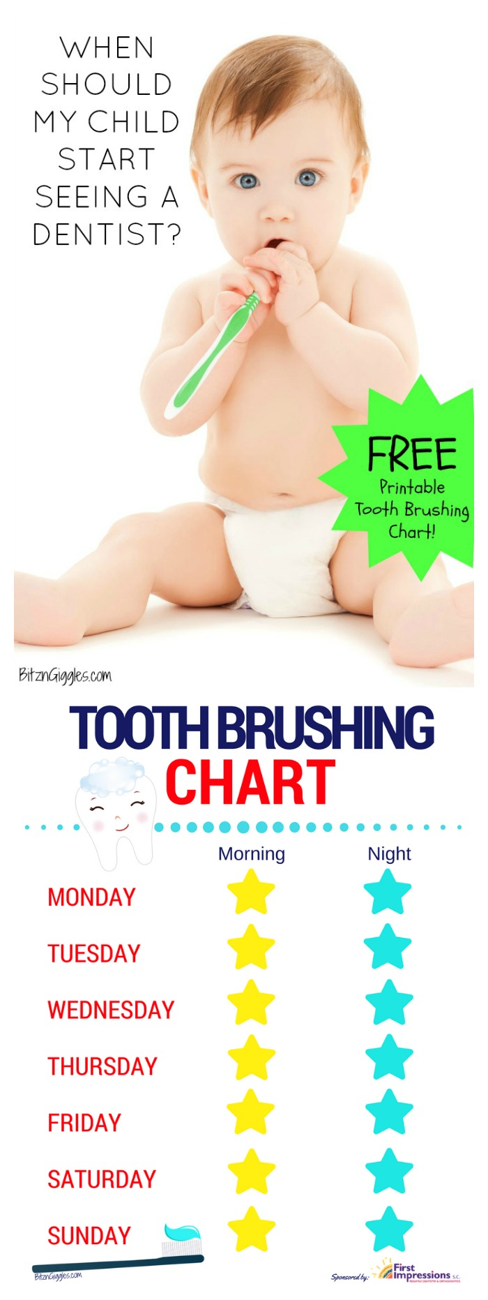When Should My Child Start Seeing a Dentist? - Tips on caring for your child's teeth and a free printable tooth brushing chart to make brushing fun and part of their daily routine!