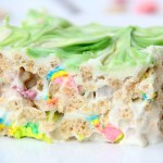 Microwave Lucky Charms Treats - Ooey, gooey, marshmallowy treats made with Lucky Charms then topped with a candy melt swirl!