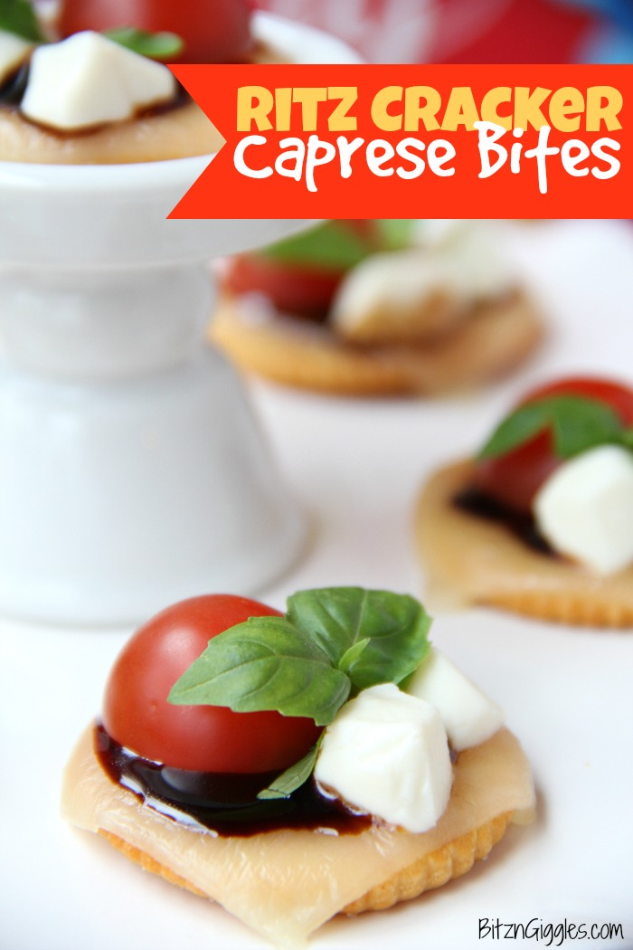 Ritz Cracker Caprese Bites - A 4-ingredient appetizer that's fresh, light and perfect for a party or celebration!