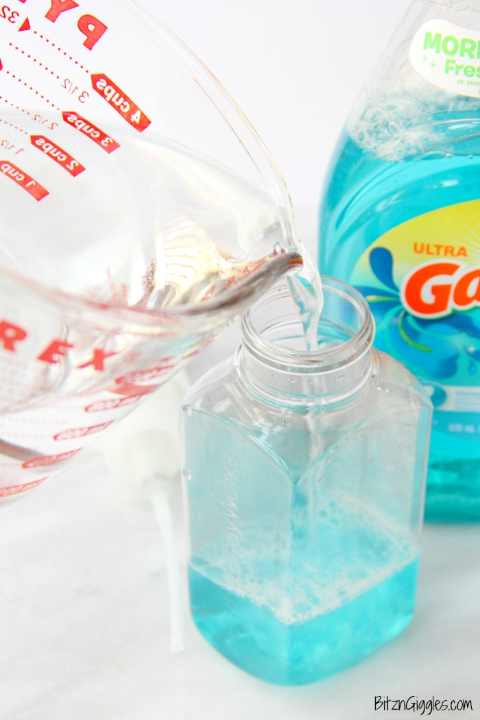 DIY Foaming Hand Soap - a two-ingredient foaming hand soap recipe you can make yourself. This will save you a ton of money!