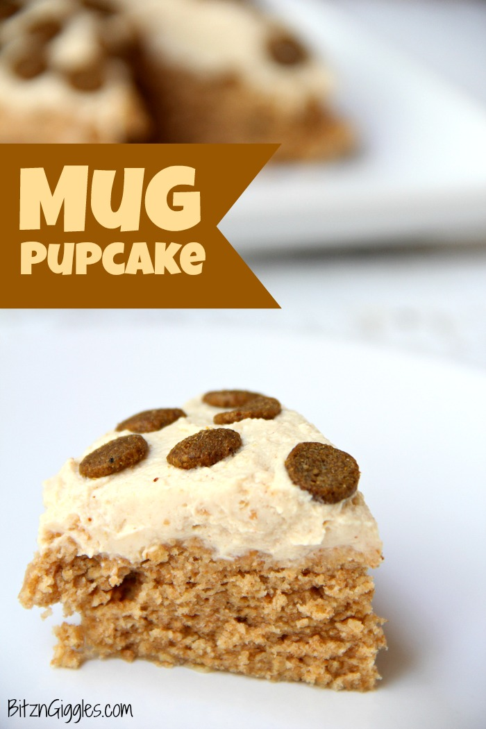 Microwave Mug Pupcake - a quick, microwaveable dog treat! This cake bakes in 90 seconds and is topped with a simple two-ingredient frosting!