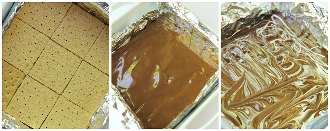 S'mores Dipping Squares - Chocolate and peanut butter graham squares with a marshmallow cream dip!