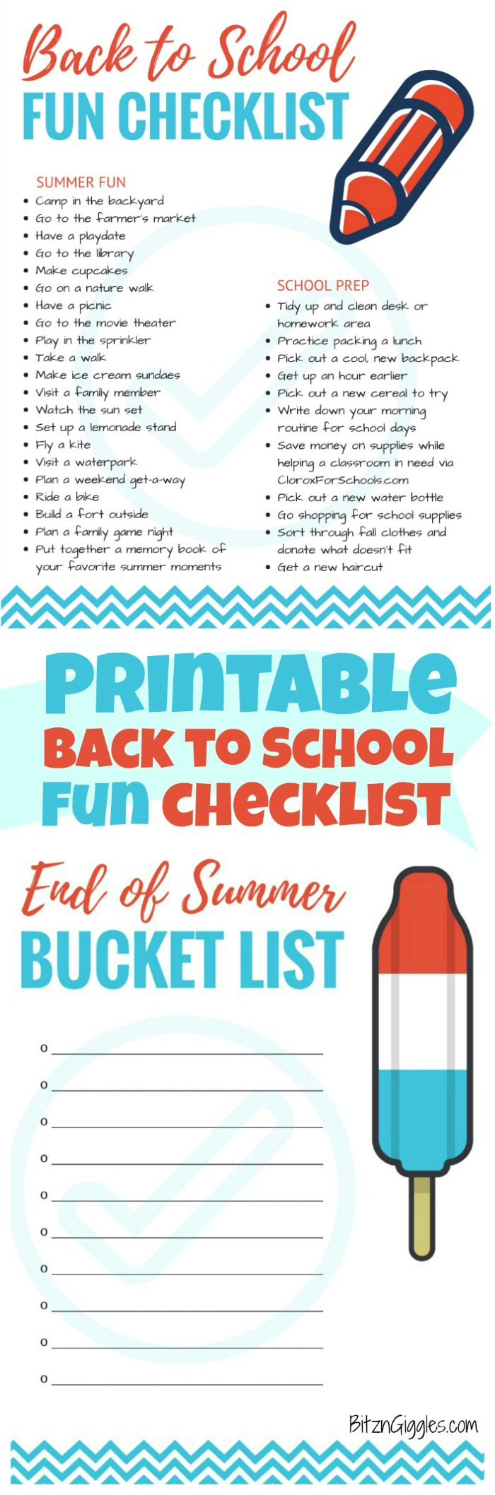 Printable Back to School Fun Checklist - Fun ideas for ending the summer with a bang and easing into the kids' back-to-school schedule.