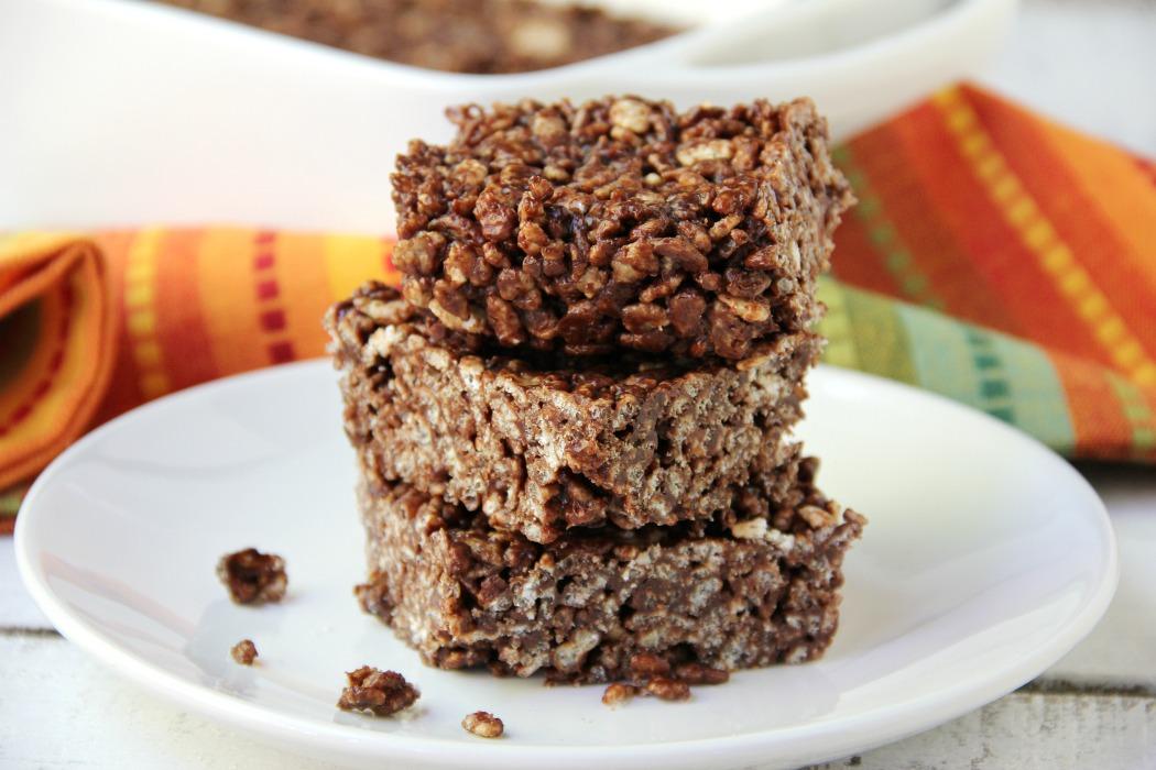 Crispy Fudge Bars - Six ingredient crispy, chocolaty bars easy enough for even the kiddos to make!