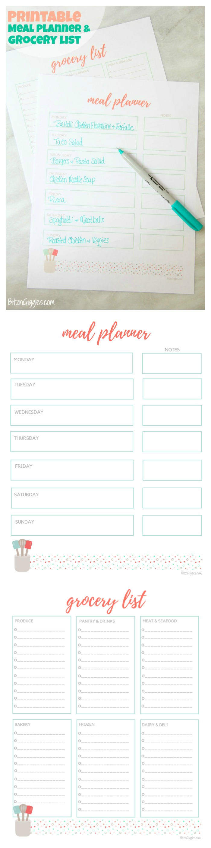Printable Meal Planner & Grocery List - Free meal planner and grocery list printables to help stay organized and ready for the week ahead!