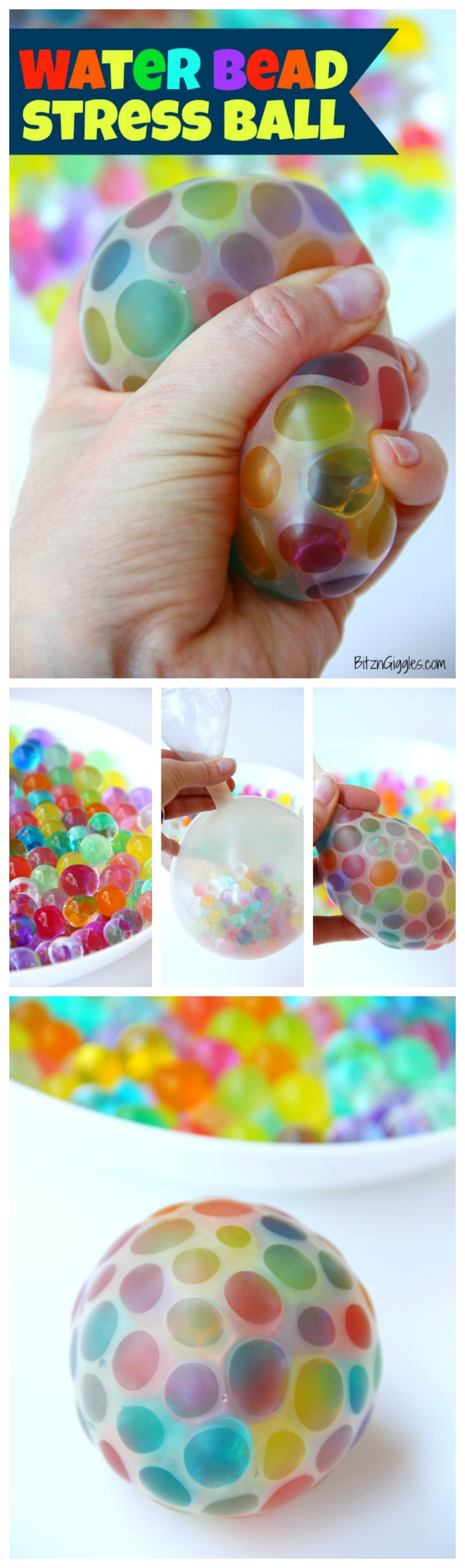 Water Bead Stress Ball - A transparent balloon filled with colorful water beads makes for a soothing and fun kids toy or stress reliever!