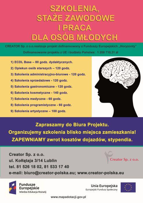 Szkolenia, staże zawodowe oraz prace dla osób młodych  - Horyzonty