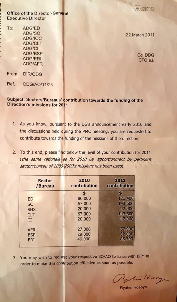 Мемо от 2011 г., с което се иска от секторните програми да захранят бюджета за пътувания на генералния директор Ирина Бокова.