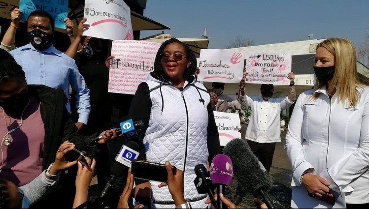 Minister of Tourism Nkhensani Kubayi-Ngubane accepted a memorandum from the South African Restaurant Association on Wednesday afternoon. Photo: Zoe Postman