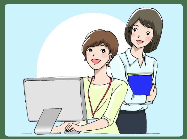 パソコンで仕事をする女性に話しかける女性