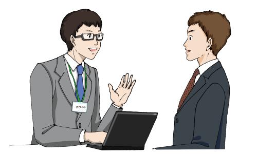 男性エージェントと男性の求職者