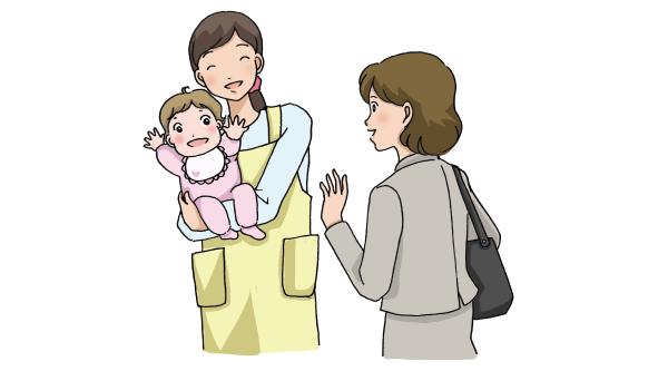 子どもを保育園に預けるお母さん