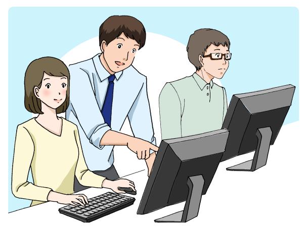 プログラミングを教えている男性