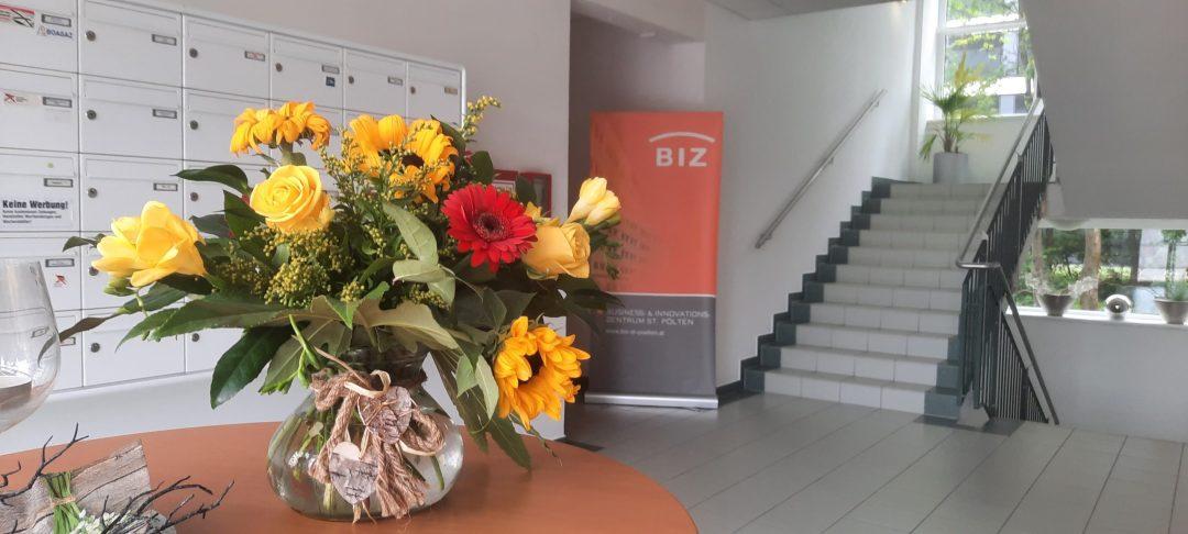 Blumen im Eingangsbereich vom BIZ