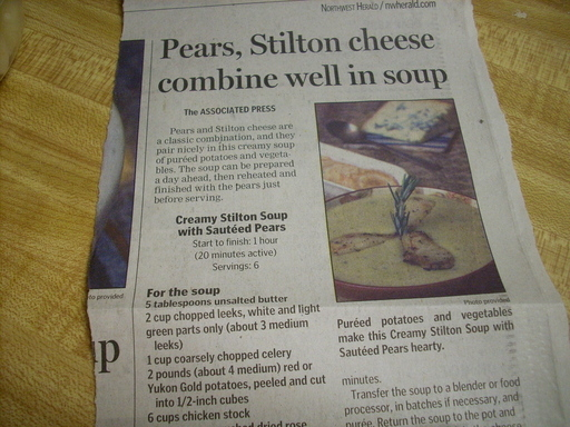 Creamy Stilton Soup with Sauteed Pears