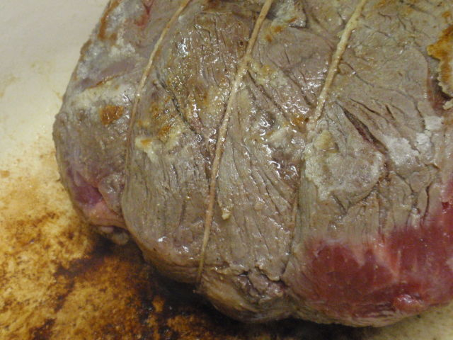 searing the meat - those browned bits will add TONS of flavor to your gravy!
