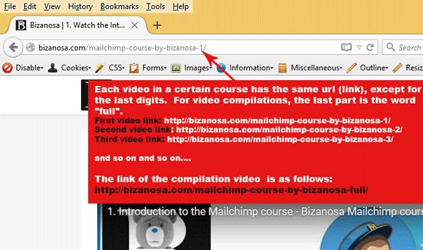 bizanosa course url rules for compilations and video courses