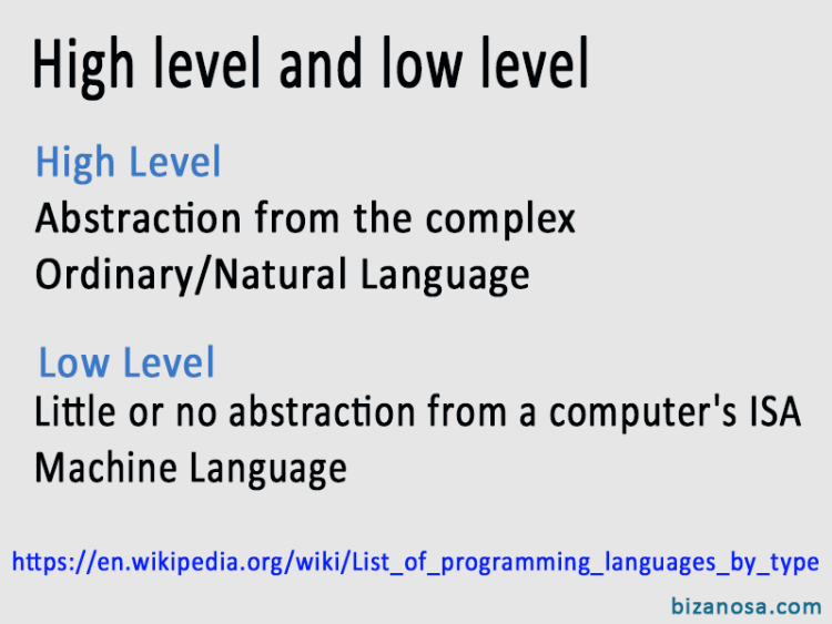 High Level and Low level Programming Languages