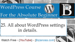 25. WordPress Settings - What does each link do?