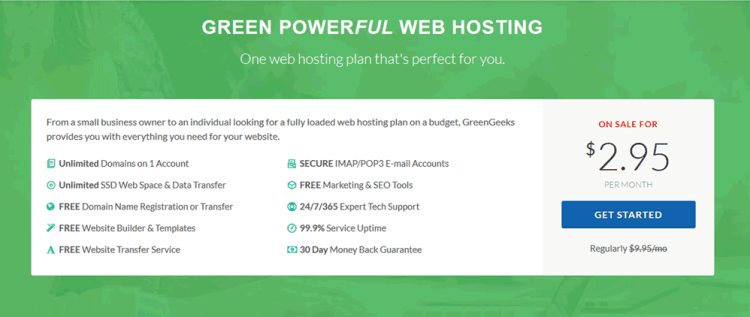 Greengeeks web hosting coupon offer for july