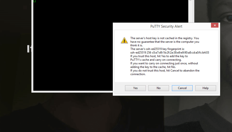 Putty prompt on first log in
