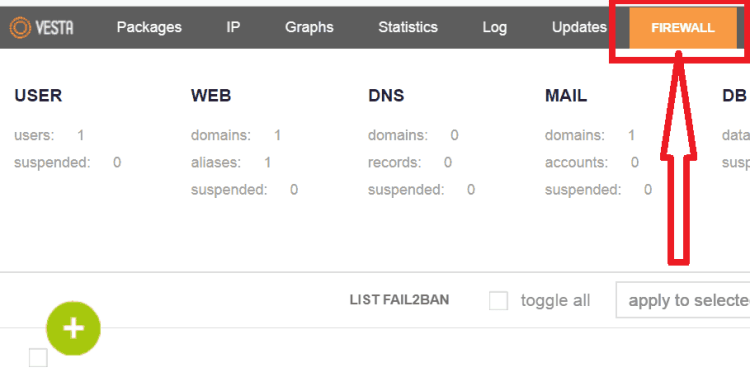 Click on Firewall on Vesta menu