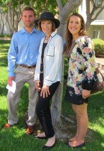 UCSB graduating seniors Matt Olivero and Riley Hubbell with Dr. Mary Ellen Guffey.