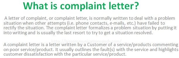 What is complaint letter in Business Communication?