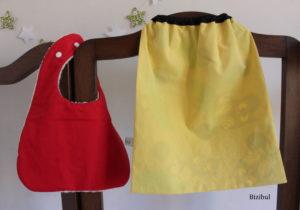 une serviette recto imprimé hiboux et verso coton uni jaune