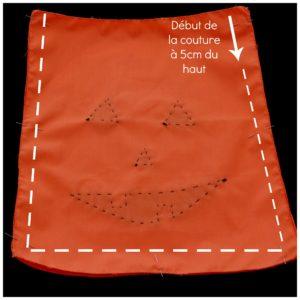 explication du démarrage de la couture à 5cm du haut, coudre tout le contour à 1cm de marge