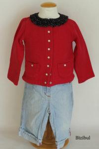 tenue à adopter avec un col à poser : ici le cardigan classique associé avec un jean délavé