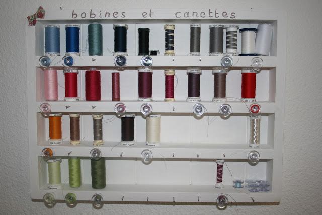 support mural de rangement de fils à coudre avec canettes de couleur associée