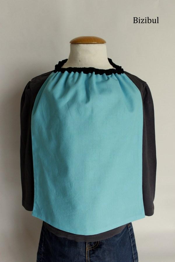 serviette de table à élastique poissons bleusverso bleu uni