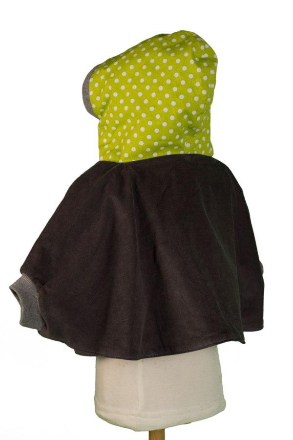 cape 6z'1 verte et grise double taille vue de dos