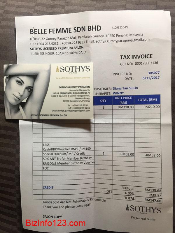 Sothys receipt