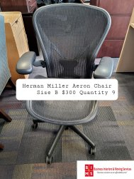 Quantity of Used Herman Miller Aeron Chairs In Stock